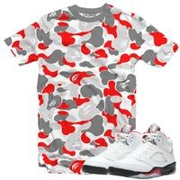 JORDAN 5 FIRE RED TAPE PRINT
