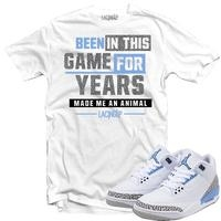 JORDAN 3 UNC ANIMAL WHITE TEE-LACING UP